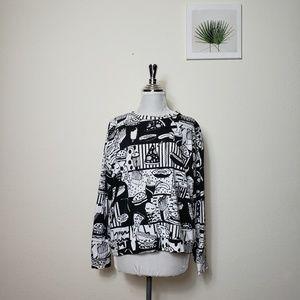 EUC Asos Monki black and white graphic pullover